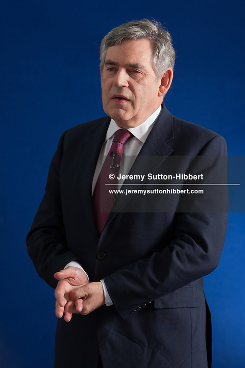 Gordon Brown, former Labour Party Prime Minister of Great Britain, appears at a photocall prior to an event at the Edinburgh International Book Festival, in Edinburgh, Scotland, on Monday 13th August 2012.