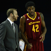 Canton Charge Head Coach Steve Hetzel mentors Canton Charge Guard Carrick Felix (42) in the second half of a NBA D-league regular season basketball game between the Delaware 87ers (76ers) and The Canton Charge (Cleveland Cavaliers) Friday, Jan 24, 2014 at The Bob Carpenter Sports Convocation Center, Newark, DEL.