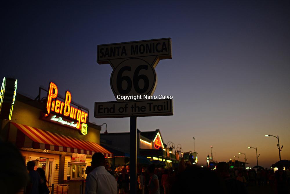 Santa Monica pier at sunset, California.