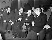 09/04/1961<br /> 04/09/1961<br /> 09 April 1961<br /> Opening of Thurles Drama Festival at Premier Hall Thurles, Co. Tipperary, organised by Muintir na T&iacute;re and Gael Linn.  The Archbishop of Cashel Thomas Morris and President Eamonn de Valera (2nd and 3rd from right) chat in their seats before the show.