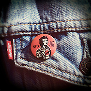 Sid Vicious badge on a Levi's denim jacket