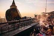 Sunset at Kyaiktiyo Pagoda (Golden rock)). Mon State, Myanmar