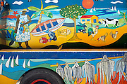 Petrol Bowser beautifully painted. At the public bus stand on Rodrigues Island.