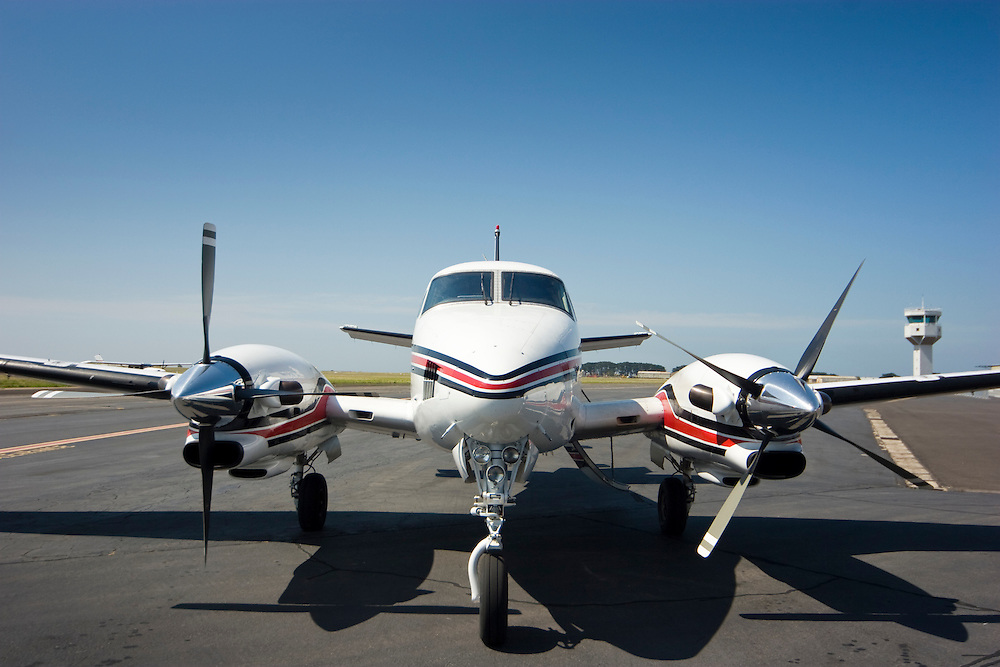 Front view of a Beech King Air twin turboprop aircraft