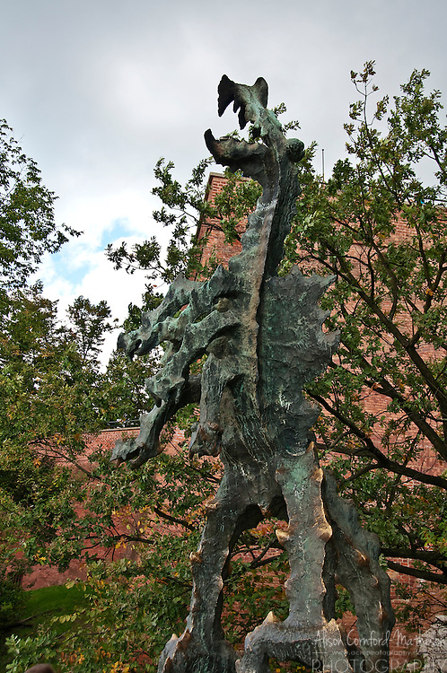 The Wawel Dragon Sculpture gards Wawel Hill in Krakow (Cracow) Poland.