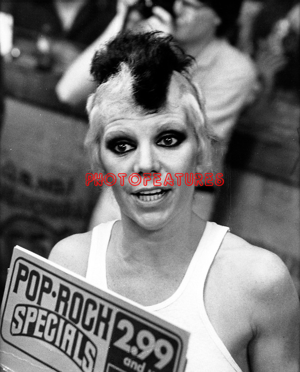 Plasmatics 1981 Wendy O Williams at Tower Records.© Chris Walter.