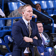 Delaware 87ers Head Coach Kevin Young seen in the first half of a NBA D-league regular season basketball game between the Delaware 87ers and the Santa Cruz Warriors (Golden State Warriors) Tuesday, Jan. 13, 2015 at The Bob Carpenter Sports Convocation Center in Newark, DEL