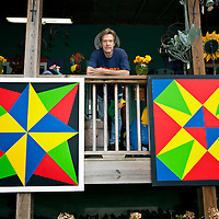 NC00454-00...NORTH CAROLINA - Clay Young from the town of Bat Cave in Henderson County is a painter of barn quilts seen throughout Western North Carolina.