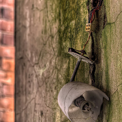 Broken light fitting at Hellingly Asylum