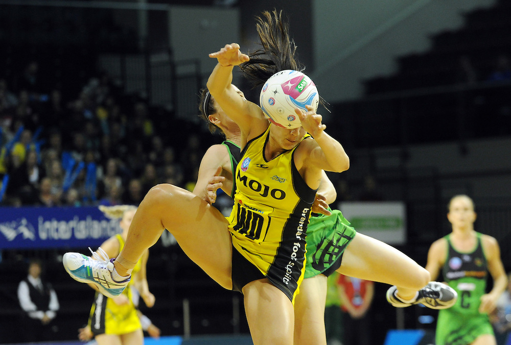 Fever's Ashleigh Brazill, rear, clashes with Pulse's Joline Henry in the ANZ Netball Championship, TSB Bank Arena, Wellington, New Zealand, Sunday, April 19, 2015. Credit:SNPA / Ross Setford