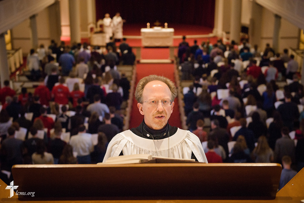 Dr. Steven Hoffman, Kantor at King of Glory Lutheran Church, Cheyenne, Wyo., St. Andrew's Lutheran Church, Laramie, Wyo., and Organist-in-Residence at the University of Wyoming, performs during Matins at the Liberty National LCMS Campus Ministry Conference on Thursday, Jan. 5, 2017, at the University of Maryland in College Park, Md. LCMS Communications/Erik M. Lunsford