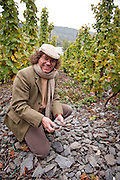 Dr. Loosen picks up broken and weathered shards of pure blue slate from his Wehlener Sonnenuhr vineyard, which has virtually no topsoil.  This terroir showcases elegant and sophisticated white wines, Mosel region of Germany.