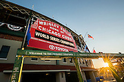 CHICAGO, IL - NOVEMBER 4, 2016: A general wide angle exterior day time view of Wrigley Field, and the historic sign and marquee celebrating the Chicago Cubs World Series Championship before the start of 2016 World Series Victory Parade, at Wrigley Field on November 4, 2016 in Chicago, Illinois. (Photo by Jean Fruth)