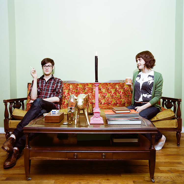 BROOKLYN, NEW YORK - 2008: Room mates Emily Viglietta and Daniel Buckley in their apartment.