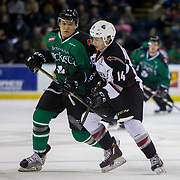 KELOWNA, CANADA - MARCH 17:  Calvin Thurkauf #27 of the Kelowna Rockets, James Malm #14 of the Vancouver Giants at the Kelowna Rockets game on March 17, 2017 at Prospera Place in Kelowna, British Columbia, Canada.  (Photo By Cindy Rogers/Nyasa Photography,  *** Local Caption ***