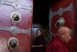 A picture made available on 19 September 2016 of Tibetan monks  inside the Jokhang Temple in Lhasa, Tibet Autonomous Region, China, 10 September 2016. Jokhang Temple is considered one of the most sacred site for Tibetan buddhists built during the rule of King Songtsen Gampo in the 7th century.