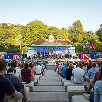 GLASGOW, UNITED KINGDOM - JULY 23: Stuart Murdoch of Belle and Sebastian performs on stage as part of the Glasgow 2014 Commonwealth Games celebrations at Kelvingrove Bandstand on July 23, 2014 in Glasgow, United Kingdom. Photo by Ross Gilmore
