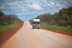 Wet season traffic on the road to Fitzroy Crossing.