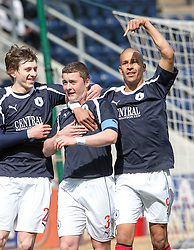 Falkirk's Thomas Scobie, with Blair Alston and Farid El Alagui, as he celebrates after scoring their first goal..Falkirk's Football Club's last game of season 2011-2012..Falkirk 3 v 2 Ayr United, 5/5/2012..©Michael Schofield..