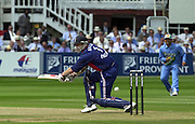 .13/07/2002.Sport - Cricket -NatWest Series Final- Lords.England vs India.Nick Knight, plays and misses.