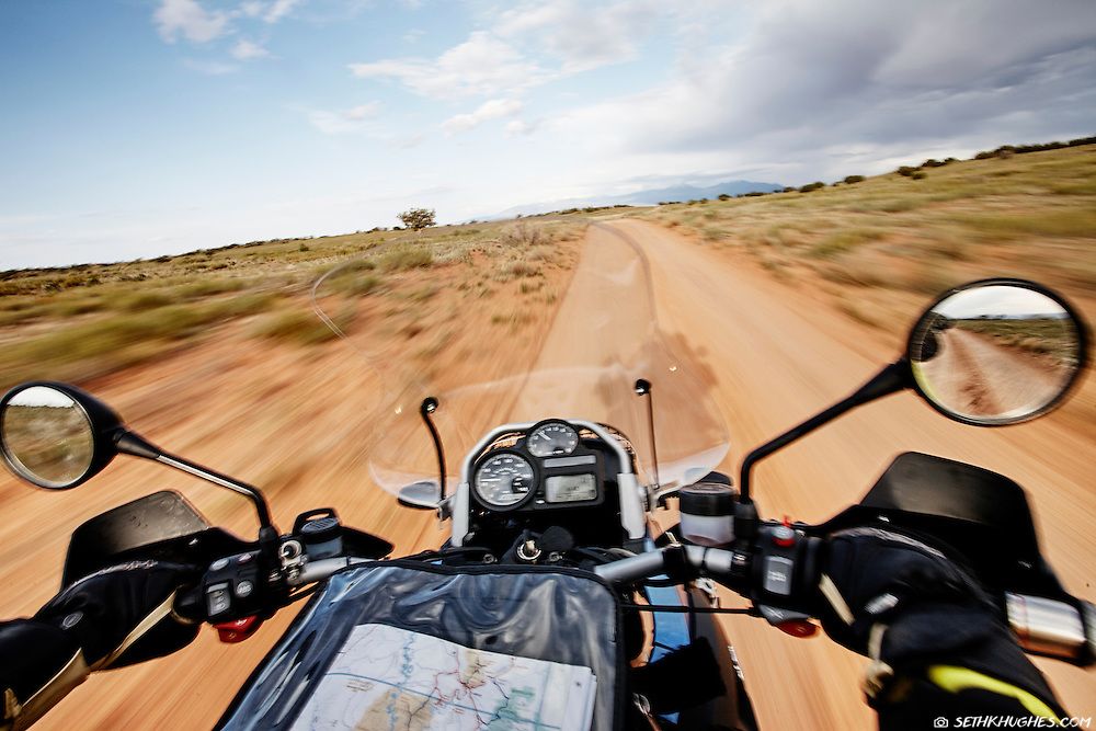 Touring the White Rim Trail in Canyonlands National Park on motorcycle.