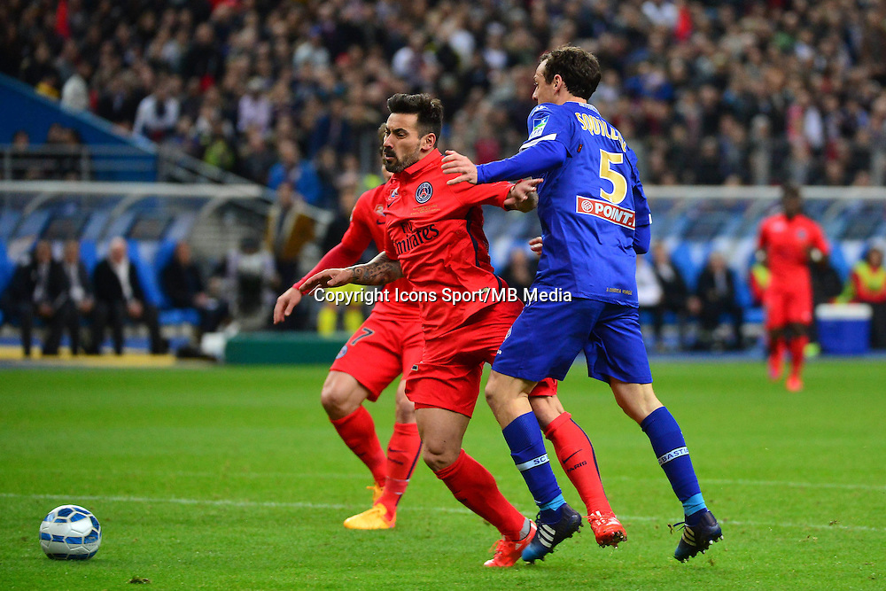 Ezequiel LAVEZZI / faute de Sebastien SQUILLACI / Penalty  - 11.04.2015 -  Bastia / PSG - Finale de la Coupe de la Ligue 2015<br />
