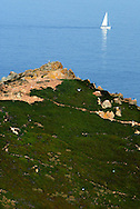 """Berlenga island, a marine reserve and classified by the Council of Europe as a """"Biosphere Reserve"""",  is now becoming an environmentally sustainable island from power generation, water, wastewater and solid waste treatment/recycle to reducing pollution at the source. This portuguese atlantic archipelago consists of a large island,  Berlenga Grande, rose granite made, and some small islands and rocks (Estelas and Farilhões), which are situated some 15 km off the headland of Cabo Carvoeiro to the north-west of Peniche, which is about 100 km north of Lisbon  .PHOTO PAULO CUNHA/4SEE"""