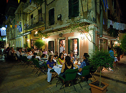 Street restauarant at night in Kerkyra Corfu Greece