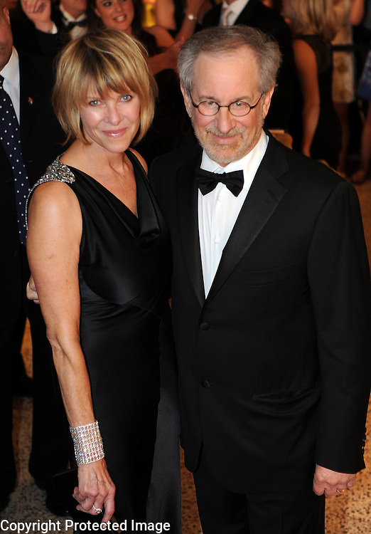 Steven Spielberg and Amy Irving arrive for the White House Correspondents Dinner in Washington, DC