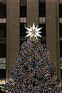 Rockefeller Center Christmas tree and ornaments including  the Swarovski Crystal star New York city on December 22 2007