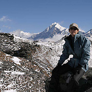 The photographer with Mt Pandim in the background