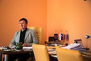 The mayor of Velka Ida Julius Beluscsák in his office.