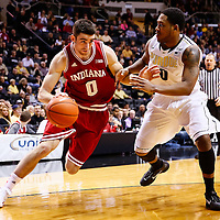 WEST LAFAYETTE, IN - JANUARY 30: Will Sheehey #0 of the Indiana Hoosiers dribbles the ball around Terone Johnson #0 of the Purdue Boilermakers at Mackey Arena on January 30, 2013 in West Lafayette, Indiana. Indiana defeated Purdue 97-60. (Photo by Michael Hickey/Getty Images) *** Local Caption *** Will Sheehey; Terone Johnson