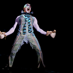 London, UK - 4 Janaury 2014: Rafael Munhoz as Boum Boum performs on stage during the dress rehearsal of Quidam at the Royal Albert Hall. (available only for editorial coverage of the Production)