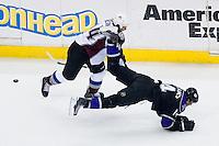Justin Williams (Los Angeles Kings, #14) vs Ryan Wilson (Colorado Avalanche, #44) during ice-hockey match between Los Angeles Kings and Colorado Avalanche in NHL league, Februar 26, 2011 at Staples Center, Los Angeles, USA. (Photo By Matic Klansek Velej / Sportida.com)