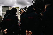 Security prepare for the arrival of Italy's Minister of the Environment, Land, and Sea, Gian Luca Galletti, at a church in Caivano. Angry residents are demanding the government officially recognize the toxic waste problems and form a plan to clean up the land.