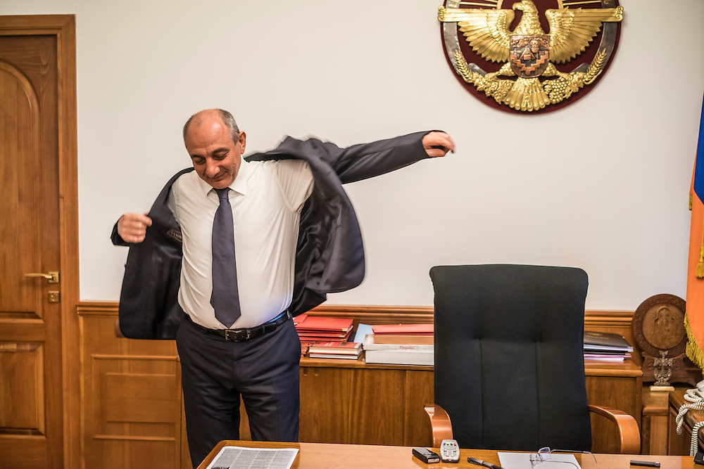 STEPANAKERT, NAGORNO-KARABAKH - APRIL 22: President Bako Sahakyan of the self-declared independent Nagorno-Karabakh Republic poses for a portrait in his office on April 22, 2015 in Stepanakert, Nagorno-Karabakh. Since signing a ceasefire in a war with Azerbaijan in 1994, Nagorno-Karabakh, officially part of Azerbaijan, has functioned as a self-declared independent republic and de facto part of Armenia, with hostilities along the line of contact between Nagorno-Karabakh and Azerbaijan occasionally flaring up and causing casualties. Sahakyan has said he will pursue international recognition of his state's independence. (Photo by Brendan Hoffman/Getty Images) *** Local Caption ***