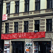 An anti war banner hanging on the exterior of a building in Berlin, Germany.