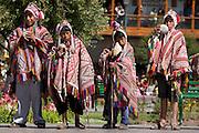 "Boys with conch shells. Inti Raymi ""Festival of the Sun"", Plaza de Armas, Cusco, Peru."