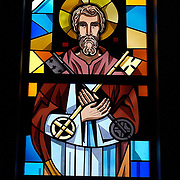 stained glass window of St. Peter, Our Lady Queen of Peace Church, Milwaukee. (Photo by Sam Lucero).