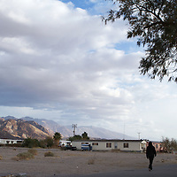 Three Death Valley Unified students walk home after being dropped off by the bus.  They are the only three children currently living on the Timbisha Shoshone homelands in the heart of Death Valley.