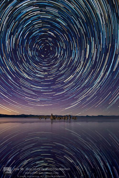 Star trails reflected in Mono Lake - Mono Lake Tufa State Natural Reserve