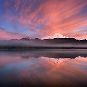Sunrise over Mount Baker (elevation 10,778' (3,285m) and Baker Lake, North Cascades Washington