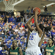Delaware Forward Danielle Parker (12) attempts a shot under the rim in the first half of a regular season NCAA basketball game against Delaware Thursday, Jan 10, 2013 at the Bob Carpenter Center in Newark Delaware...Delaware (10-3; 1-0) defeated George Mason (5-8; 0-2) 62-27..Delaware is riding a four-game winning streak after defeating George Mason, St. John's in over- time on Jan. 2 Villanova (Dec. 29) and Duquesne (Dec. 30) to capture the 2012 Dartmouth Blue Sky Classic title.