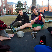 20110317 - Medford/Somerville, Mass. -  Ryan Stolp (A11) explains how to use a camping stove to the ExCollege mountaineering class he teaches with Nick Levin (A11), left, on March 17, 2011...(Kelvin Ma/Tufts University)