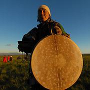 Shaman of Tuva (Russia). Morning talk to spirits.