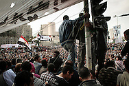 Protesters on Tahrir Square during stand off  with riot police on November 24, 2011 in Cairo, Egypt.