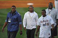 Former Ole Miss football players (l. to r.) Tutan Reyes, BenJarvus Green-Ellis, and Jerrell Powe at Oxford-University Stadium in Oxford, Miss. on Friday, April 15, 2011. Ole Miss won 3-2.