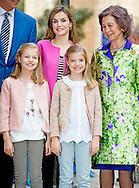 27-3-2016 - PALMA DE MALLORCA -, princess Sofia, Prince Felipe, Queen Letizia, Princess Leonor, Princess Sofia attend the eastern mass at the cathedral in Palma de Mallorca, 27 march 2016. COPYRIGHT ROBIN UTRECHT<br /> eastern mass mis pasen paas spaanse spain spanje palma de mallorca princess prinses leonor sofia king koning juan carlos koningin queen sofia princess prinses letizia elena prince prins felipe