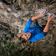 Nick Marcucci on Sucking My Will to Live, 5.12c, at Primo Wall in Clear Creek Canyon. Kris Ugarriza - Red Wave Pictures